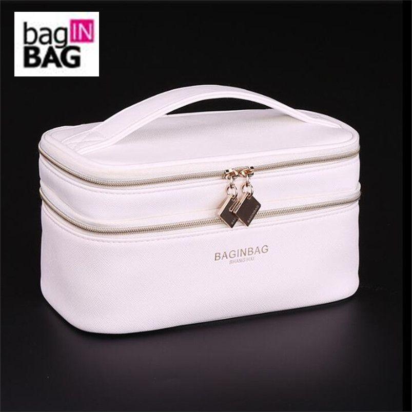 Sac à dos Double couche sac cosmétique Cross PU cosmétique multifonctionnel maquillage sac de toilette trousse maquillage femme