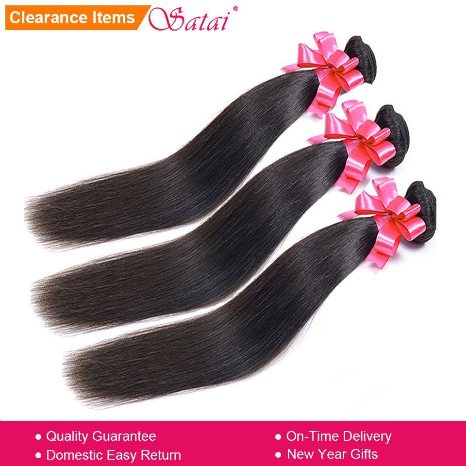 SATAI Droite Cheveux Humains Cheveux 3 Faisceaux 8-28 pouce Cheveux Brésiliens Armure Bundles Naturel Couleur Non Remy Cheveux extension
