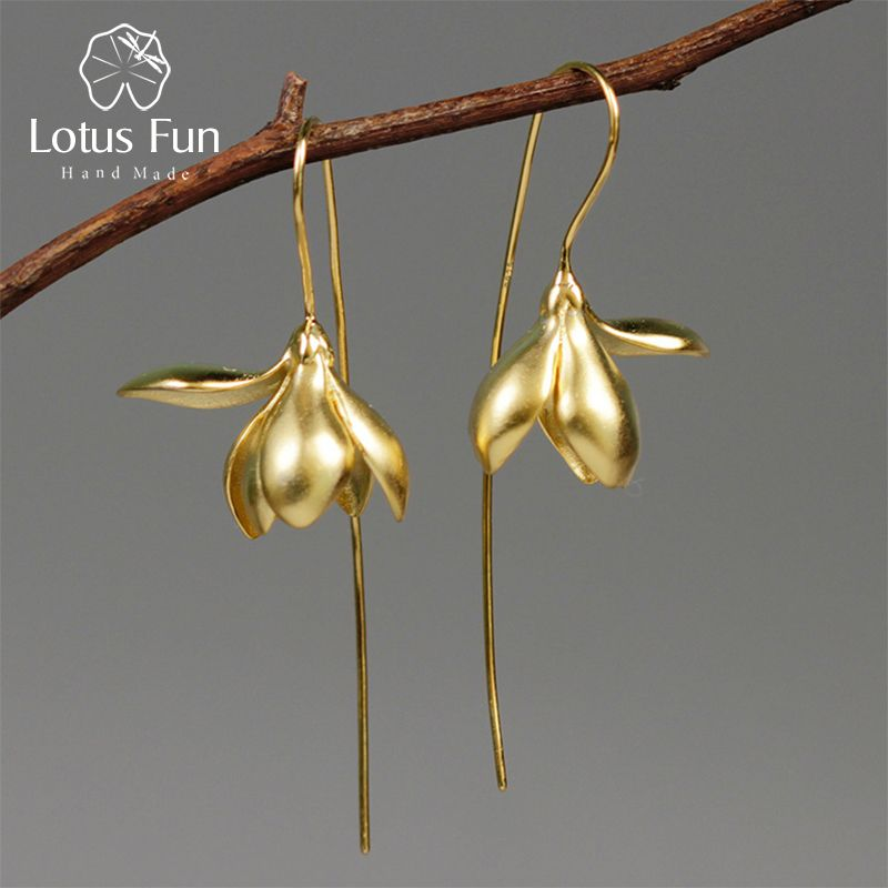 Lotus Fun Real 925 Sterling Silver Handmade Designer Fine Jewelry Elegant Magnolia Flower Dangle Earrings for Women Brincos