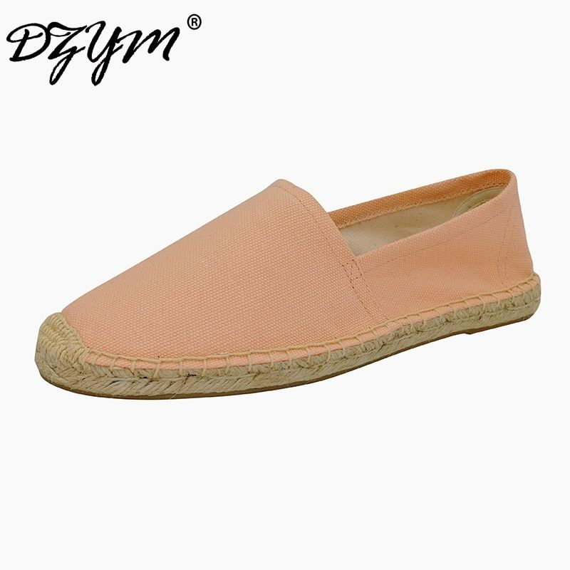 DZYM 2018 Pure Hand-made Canvas Espadrille Women Ballet Flats Top Quality Sewing Shoes Linen Footwear Comfort Zapatos Mujer