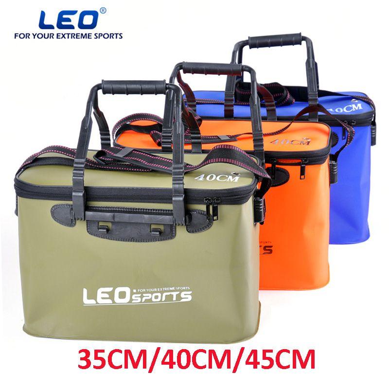 LEO High Quality EVA Folding Fishing Bucket 30 CM 35CM 40CM 45CM Length Carp Fishing Foldable Bag Fishing Water Tank With Belt