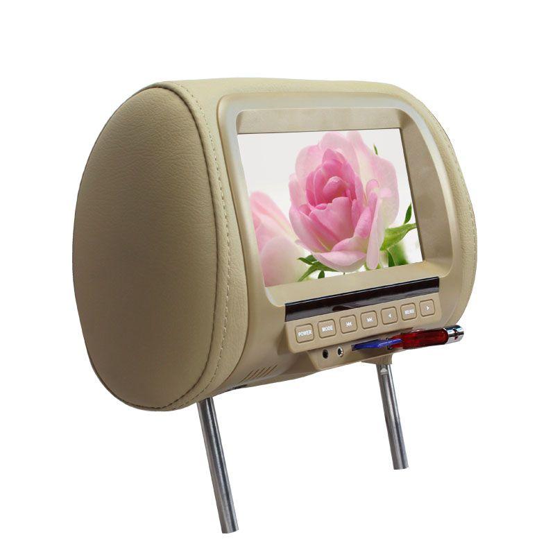 7 inch TFT LED Screen Pillow Monitor General Car Headrest Monitor Beige/Gray/Black color AV USB SD MP5 FM Speaker SH7038-MP5