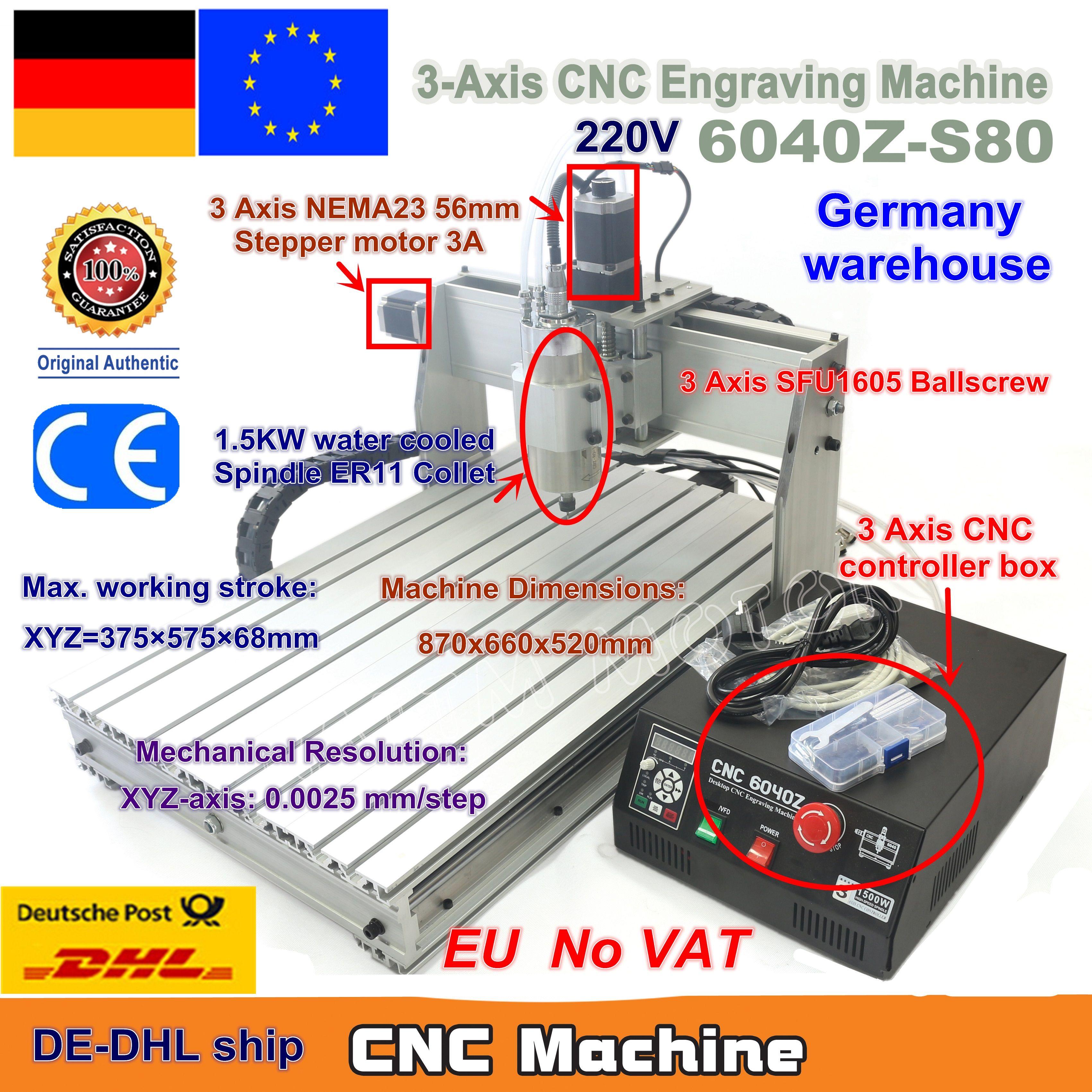 EU Schiff kostenloser MEHRWERTSTEUER 3 Achse Mach3 6040Z-S80 1500W 1.5KW Spindel Motor CNC Router Engraver Gravur Schneiden Fräsen Maschine 220VAC