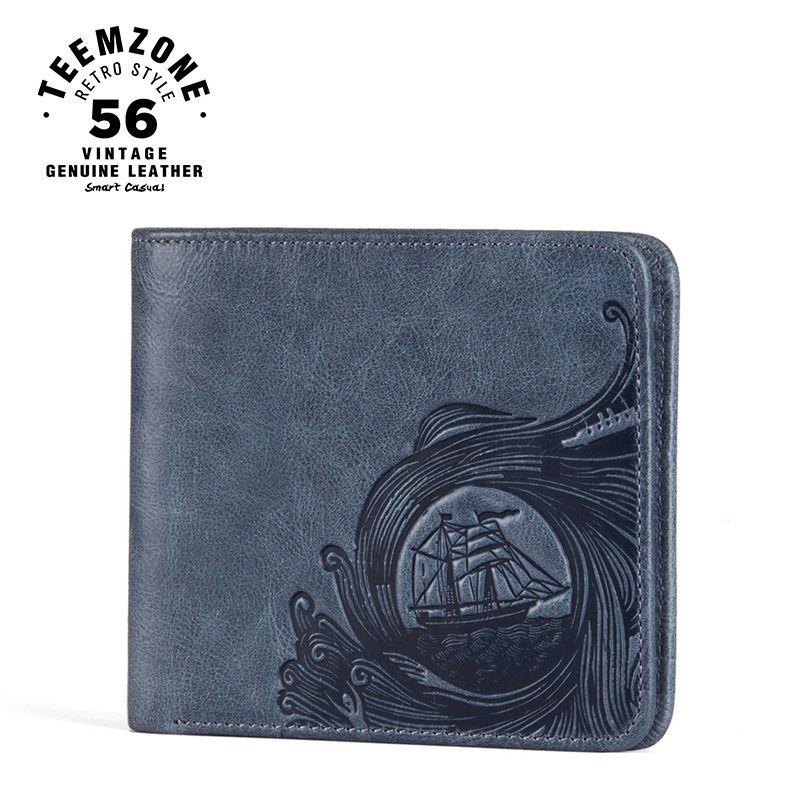 teemzone Ocean Men Genuine Leather Bifold Horizontal Unisex Wallet ID Credit Card Holder Cash Receipt Holder Blue Wallet Q805