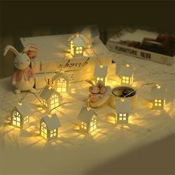 2 м 10 шт. светодиодный новогодняя елка с домиками стиль Сказочный свет светодиодный гирлянда Свадебная натальная Гирлянда Новогодние рожде...