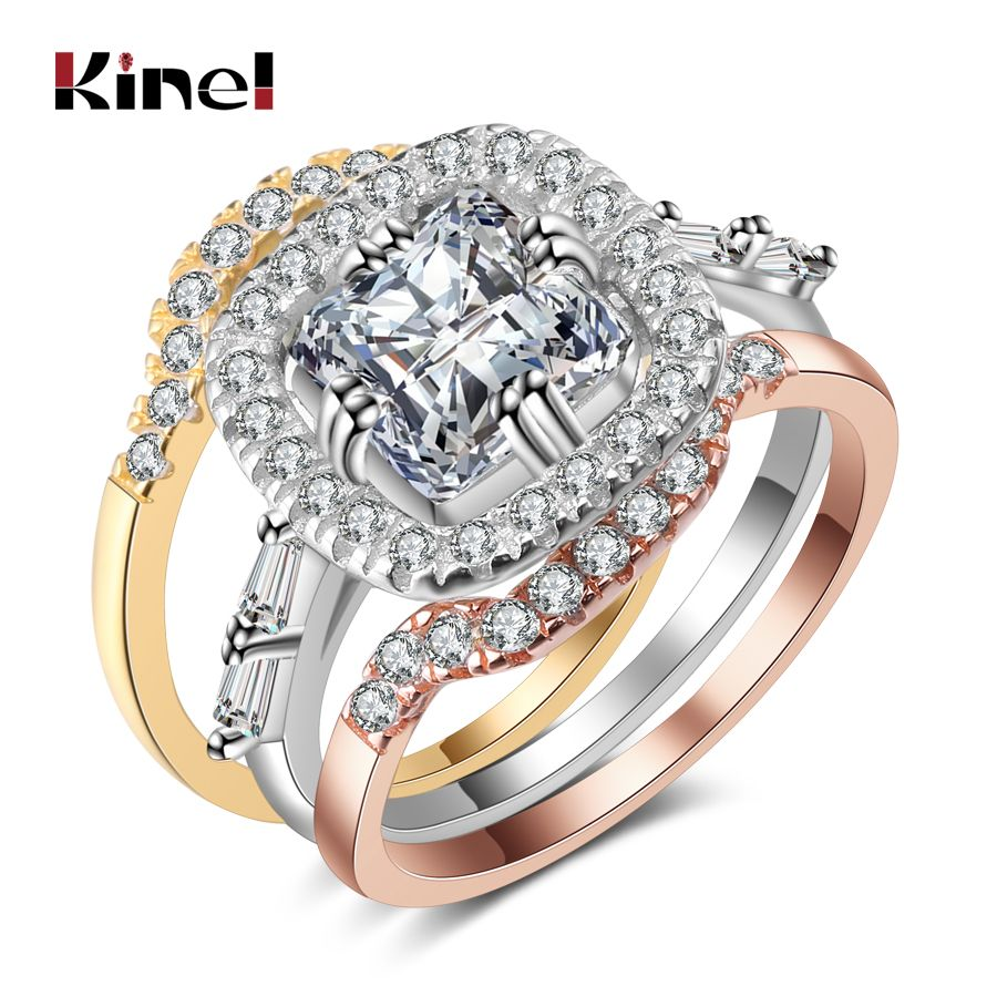 Kinel New Fashion Love Ring Set For Women 3pcs Mix Colors Filled Big Square CZ Rings Vintage Wedding Jewelry Christmas Gift