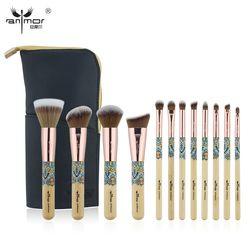 Anmor Baru 12 Pcs Sintetis Makeup Brushes Set Kuas Profesional untuk Membuat Foundation Eyeshadow dengan Kosmetik Kit