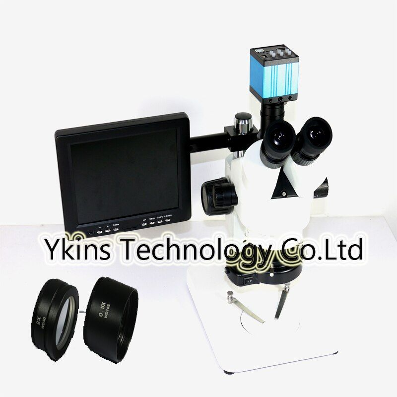 Eakins Brand 3.5x-90x Trinocular Stereo Zoom Microscope with 0.5X 2.0X Auxiliary Objective Lens +8 inch screen