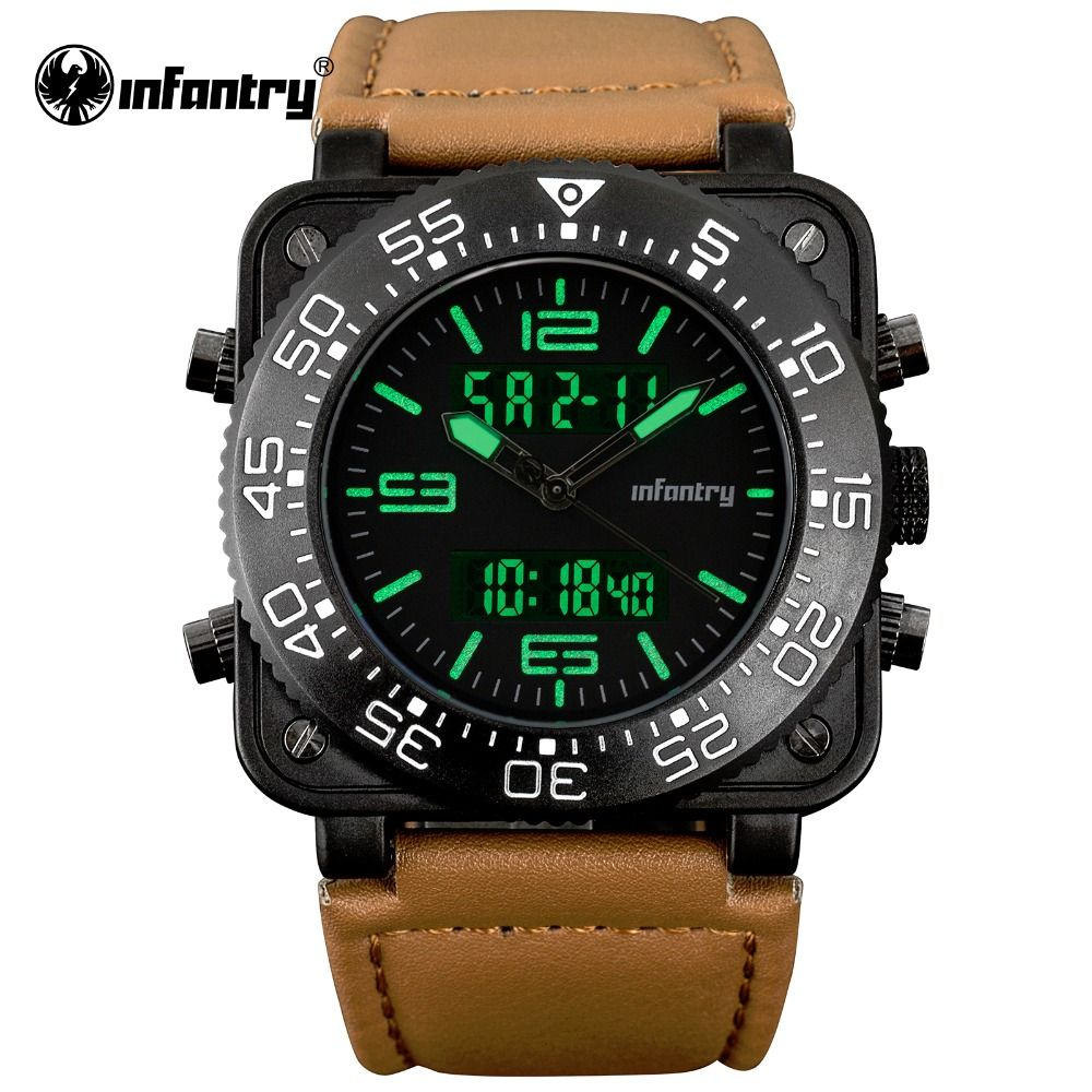INFANTRY Mens Watches Top Brand Luxury Military Sports Chronograph Luminous Wristwatch Leather Quartz Watch relogio masculino