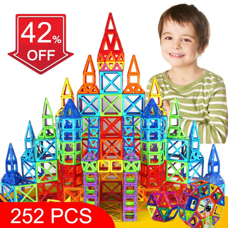 BD 252pcs Magnetic Blocks Mini Magnetic Designer Construction 3D Model Magnetic Blocks Educational Toys For Children Kid Gift