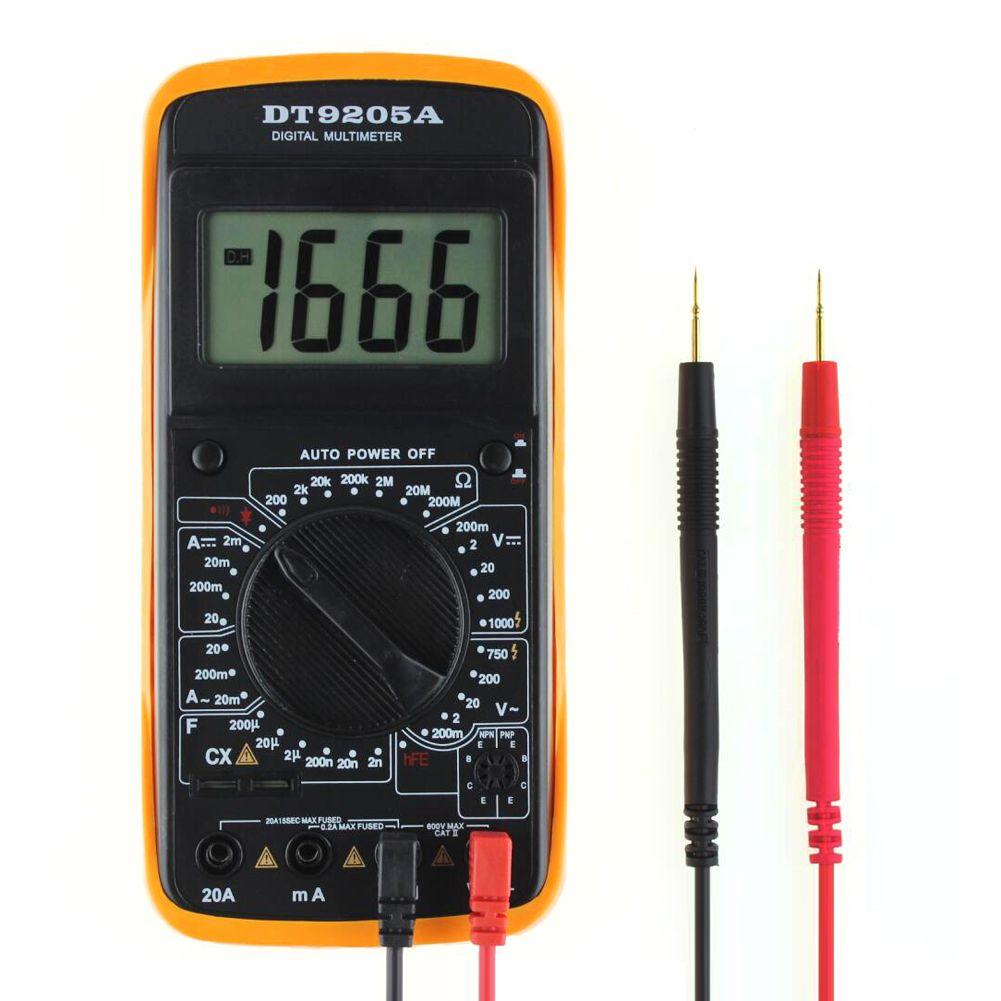 Multimètre numérique automatique professionnel de compteur de COMS d'affichage à cristaux liquides de ca/cc d'appareil de contrôle tenu dans la main avec 2 fils d'essai ampèremètre de voltmètre