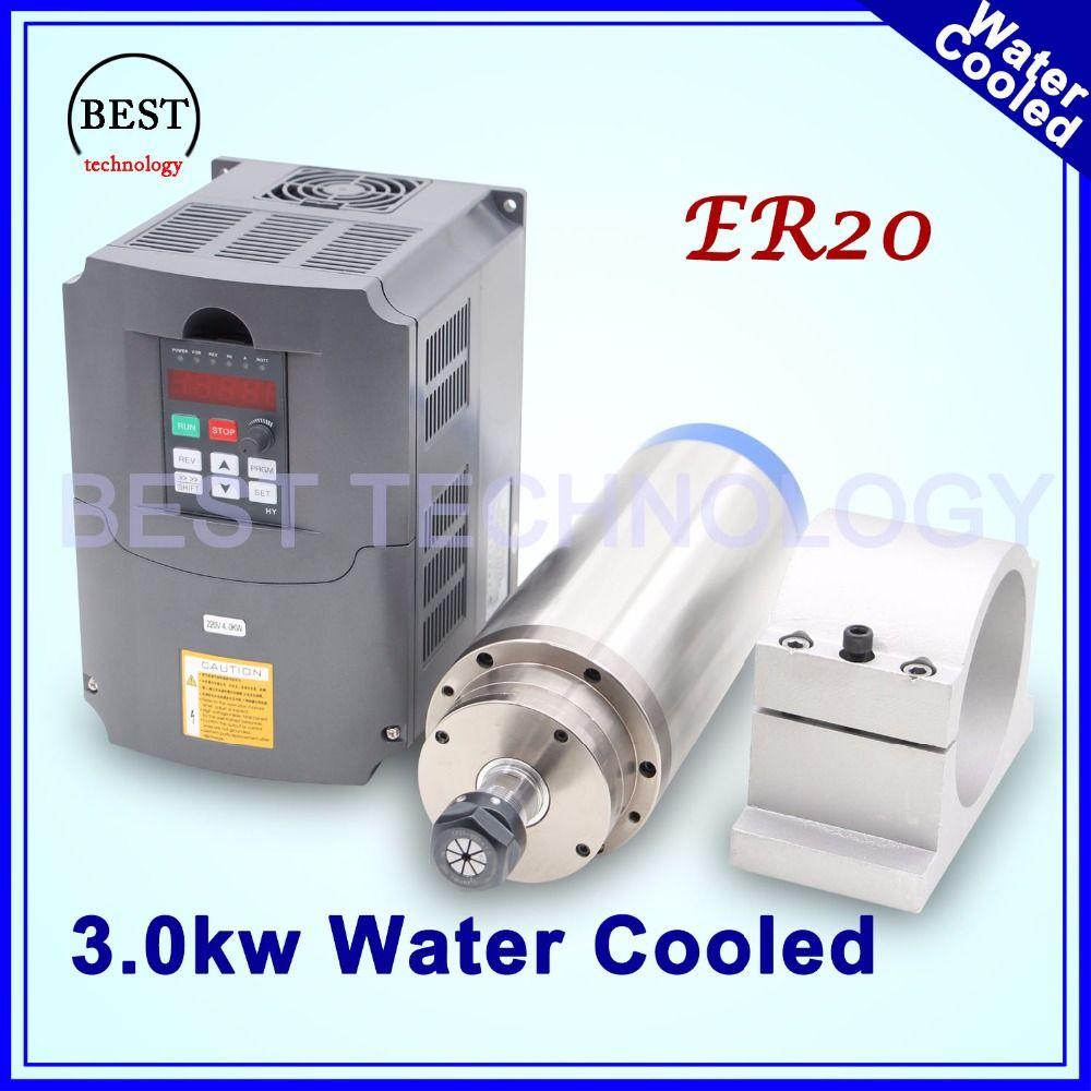 CNC router spindelmotor 3kw ER20 wassergekühlte spindelmotor 4 lager & 3kw VFD/wechselrichter & 100mm cast aluminium halterung