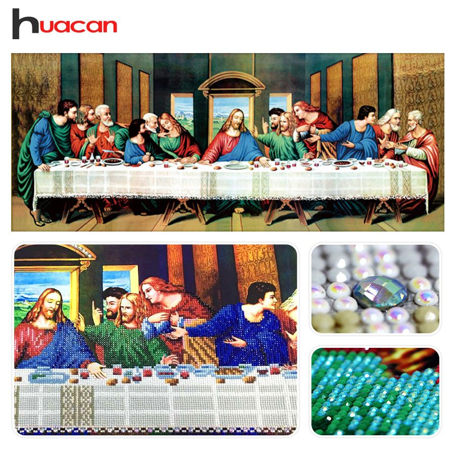Huacan, Spécial En Forme, Diamant Broderie Peinture, Dernier Souper, Religieux, 5D Diamant Mosaïque, point De croix, de Vacances, Cadeau, Décoration Murale