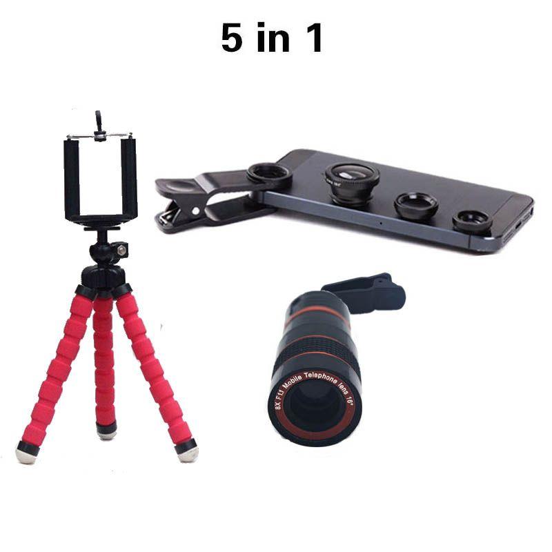 Univesal New 5in1 8X Zoom Téléphone Camera Lens Télescope avec Flexible Trépied 3in1 lentille Fisheye Large Lentille Macro pour smartphone