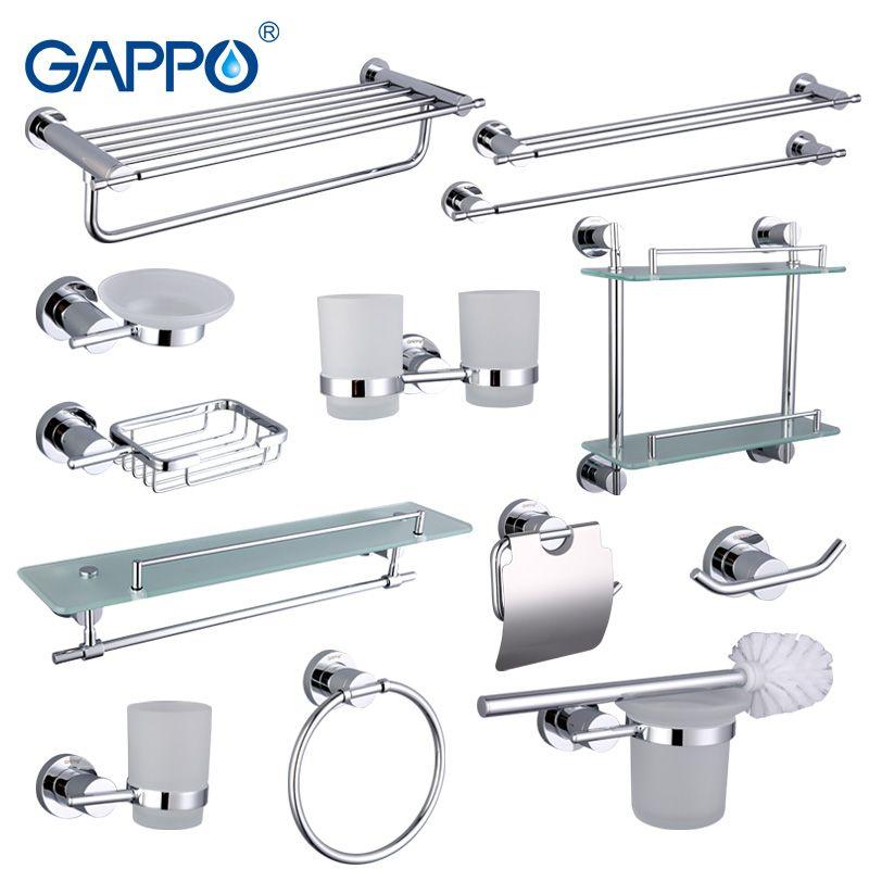 Gappo Bathroom Accessories Towel Bar Paper Holder Double Toothbrush Holder Bath towel back Towel ring Bathroom Sets GA18T13