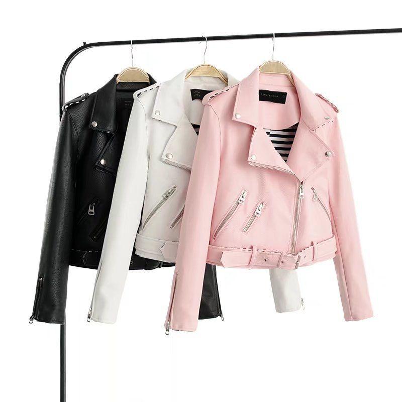 2017 Lika S-XL New Spring Fashion Back Grand Dark  Lines Good Quality Ladies Basic Street Women Short PU Leather Jacket