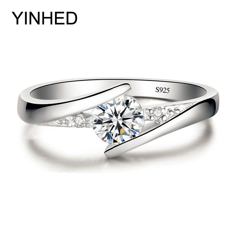Envían Certificado de Plata! YINHED 100% Pura Plata Esterlina 925 Anillo Set de Lujo 0.5 ct CZ Anillos de Boda para Las Mujeres ZR327 Diamant