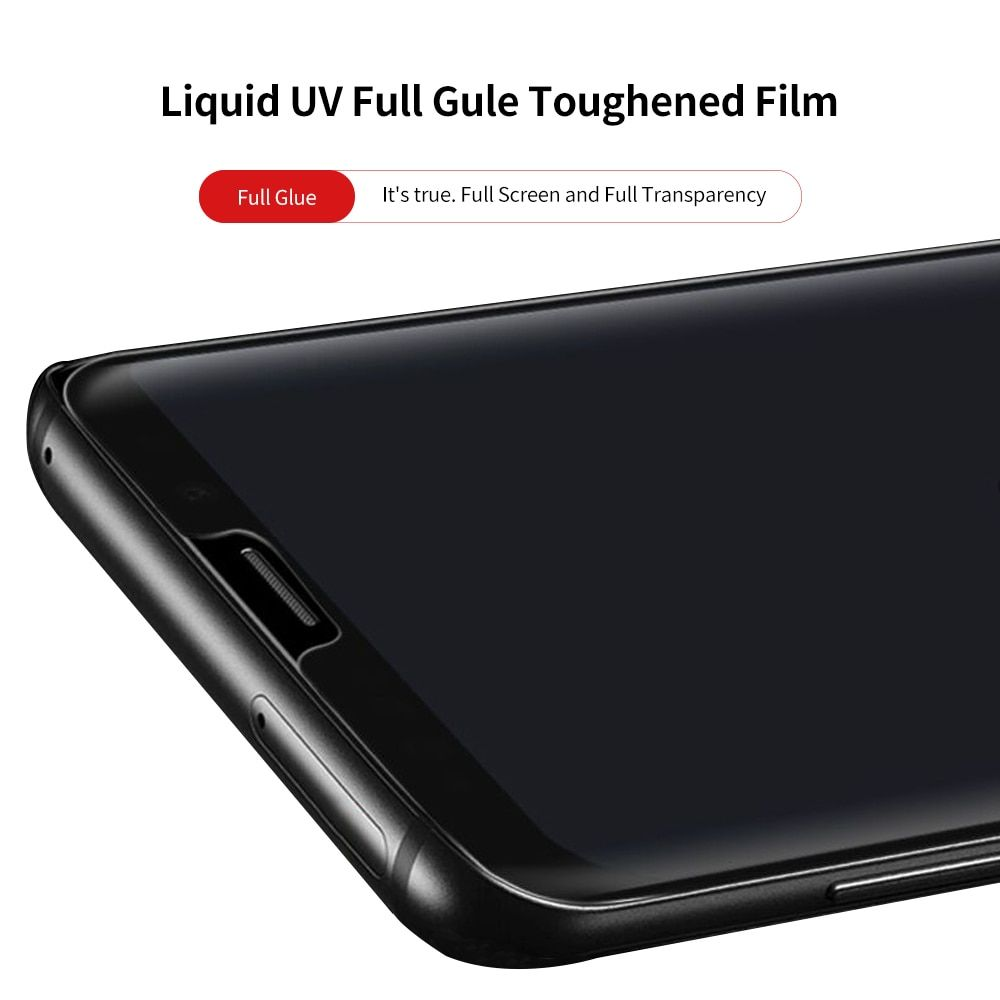 Full Glue Tempered Glass Film for Samsung Galaxy S9 S9+ S8 S8+ s7edge Note8 Full Screen Coverage 3D Liquid Uv Screen Protector