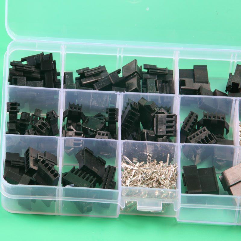 SM2.54 Kits 40 sätze Kit 2 p 3 p 4 p 5 p 6 p Pitch weibliche und Stiftleiste elektrische anschlüsse mit box 2,54mm kabel stecker