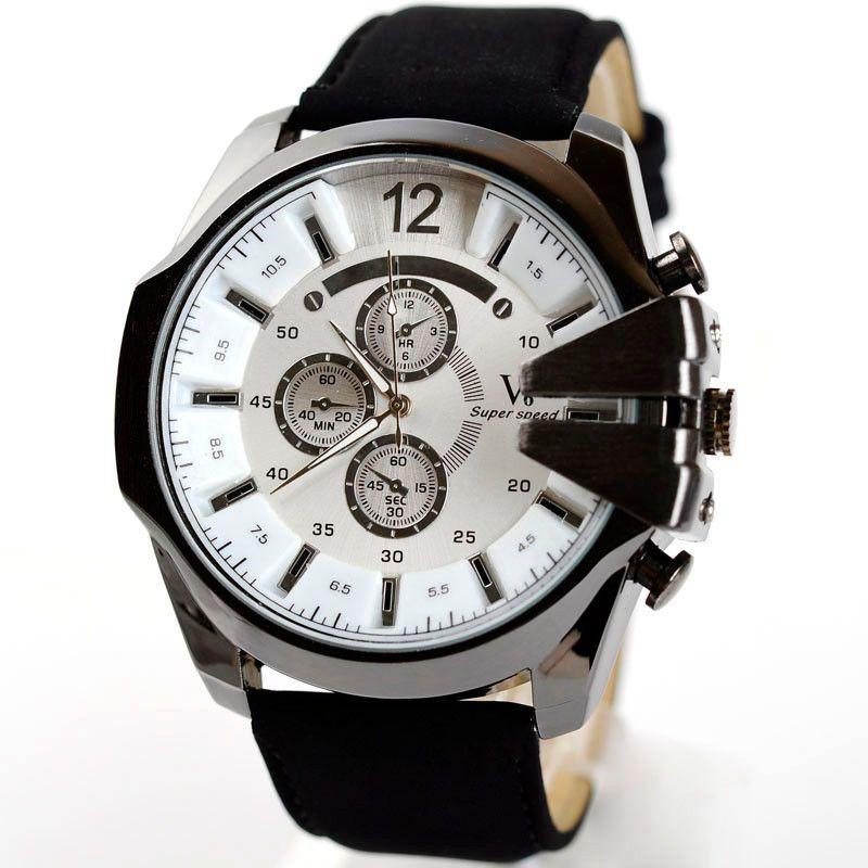 Hombres de lujo reloj analógico del dial del cuarzo del acero reloj de cuero impermeable relojes reloj Relogio Masculino