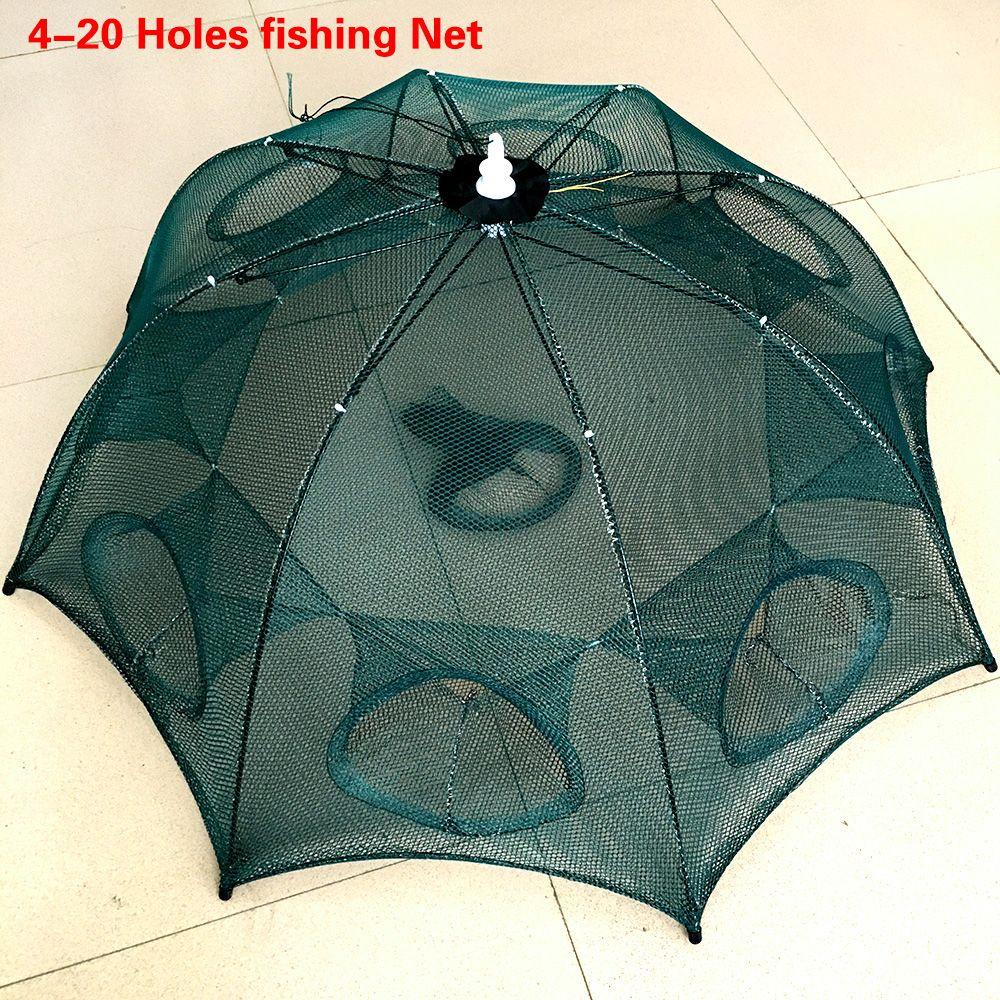 Renforcé 4-20 trous filet de pêche automatique Cage à crevettes Nylon pliable crabe piège à poisson moulé filet moulé réseau de pêche pliant