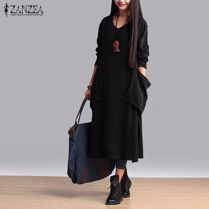 ZANZEA Moda Vestido de Otoño 2016 de Las Mujeres Suelta de Algodón Casual Vestidos Largos de Manga Larga Con Cuello En V Vestidos Más El Tamaño S-5XL
