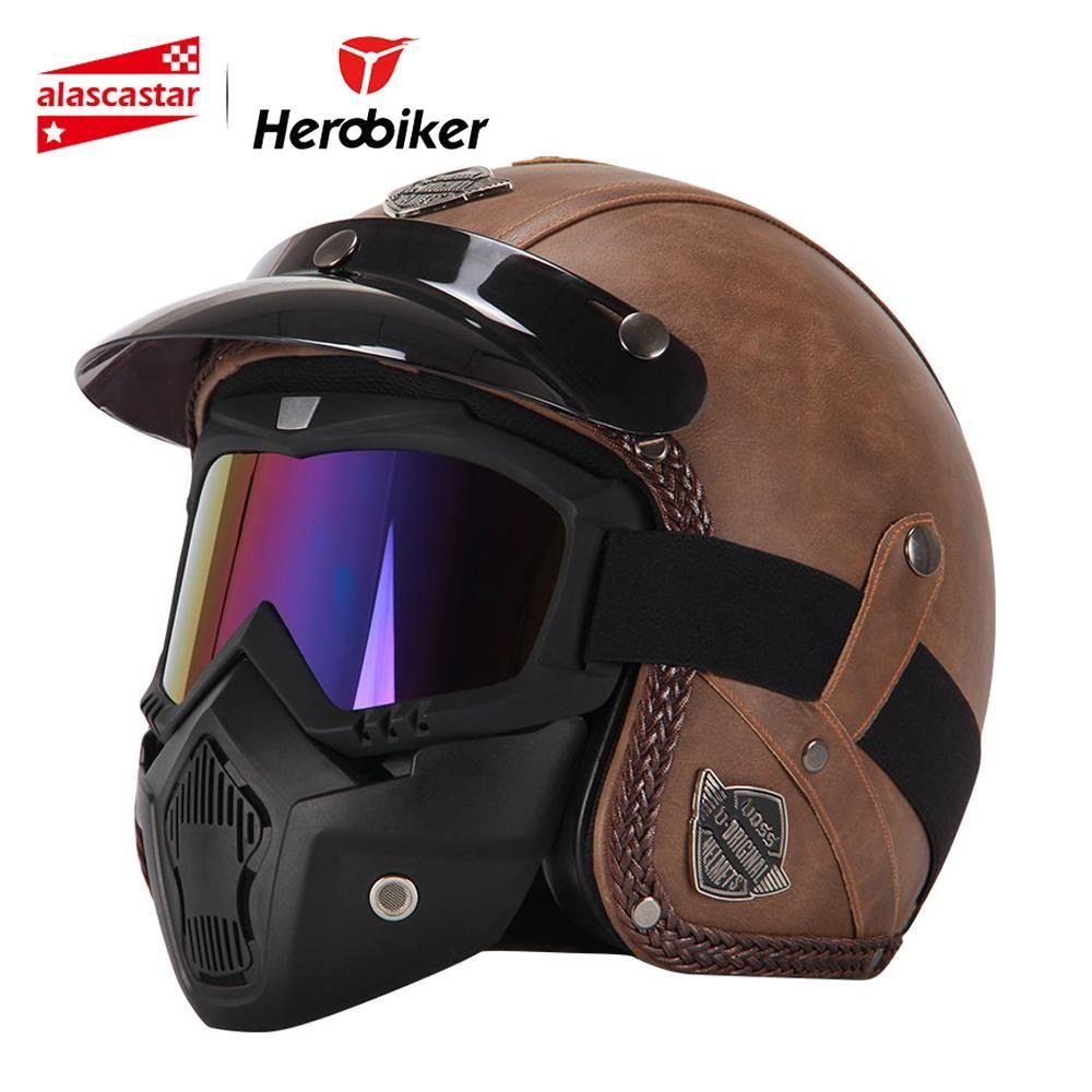 Neue Retro Vintage Deutsch Stil Motorrad Helm 3/4 Open Face Helm Vier Jahreszeiten Cruiser Biker Moto Helm mit Brille Maske
