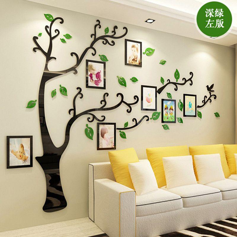 3D bricolage famille mariage Photo arbre PVC Stickers muraux, Art maison TV fond décoration Stickers muraux, 4 tailles affiche murale