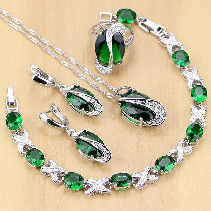 925 Sterling Silver Jewelry Green Zircon White CZ Jewelry Sets Women Earrings/Pendant/Necklace/<font><b>Rings</b></font>/Bracelet T225
