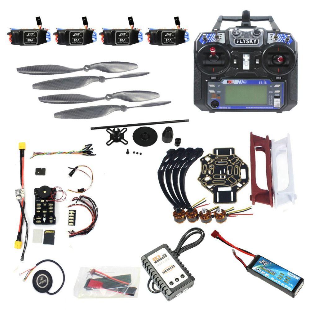 Full Set DIY FPV Drone Model 4-axle Aircraft Kit HJ 450 Frame PX4 Flight Control 920KV Motor GPS FS-i6 Remote Controller Props