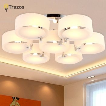 NEW 2019 Modern Ceiling Lights modern fashionable design dining room lamp pendente de teto de cristal white shade acrylic lustre