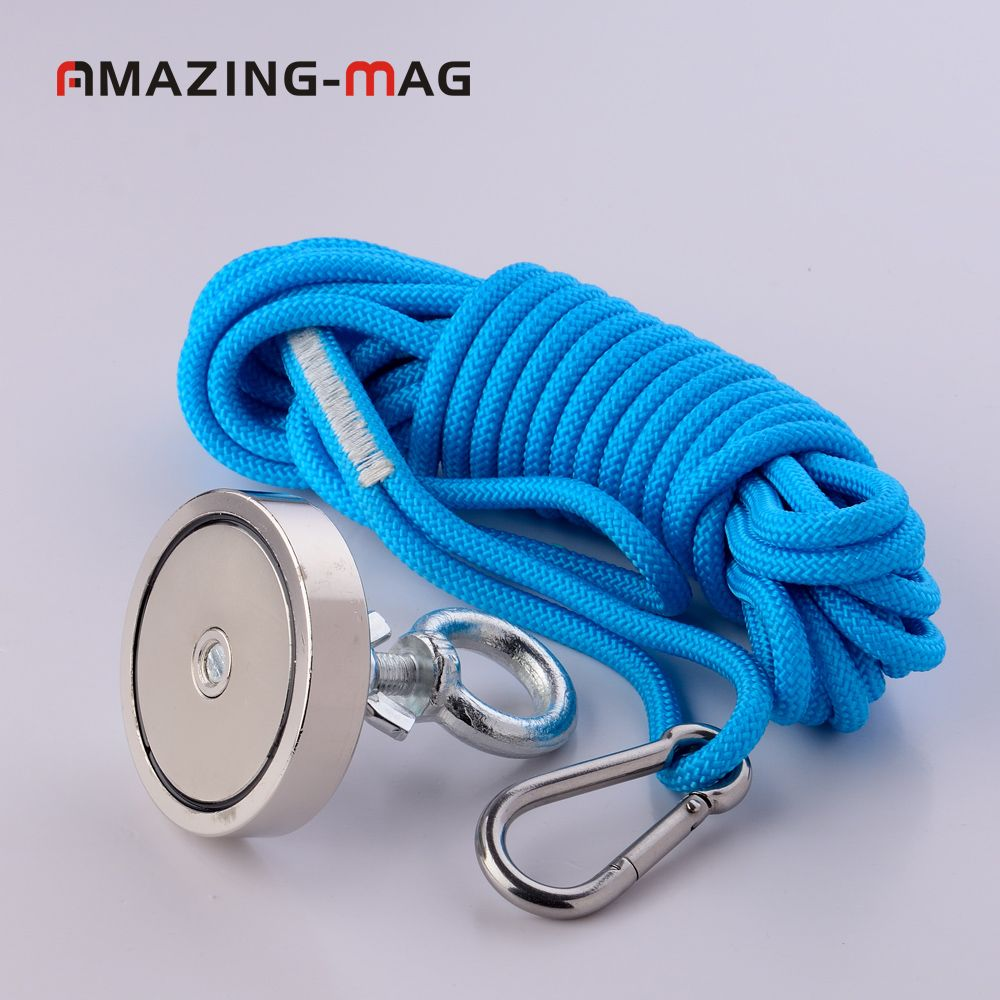 1PC 200KG Neodymium Salvage Fishing Magnet With Rope Recovery Detect Retrieving Metal Treasure Hunting Magnetic Mounting Base