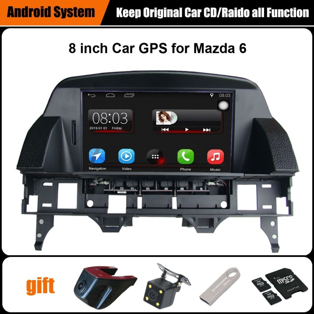 8 inch Capacitance Touch Screen Car GPS for Mazda 6 Android System Support WiFi Smartphone Mirror-link