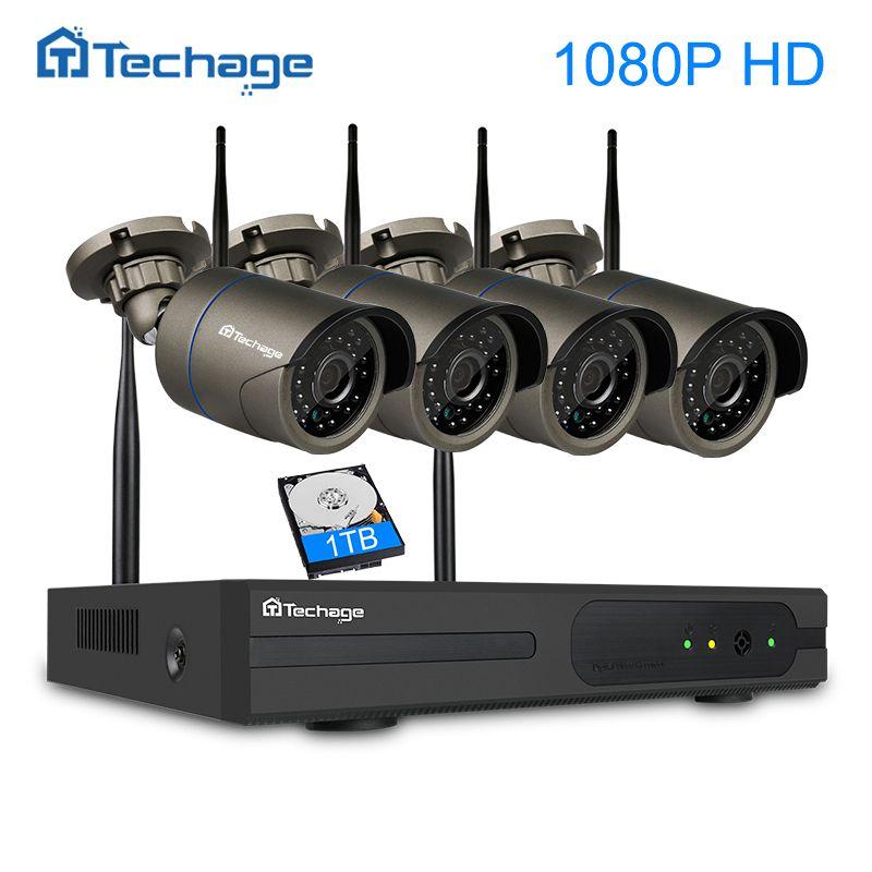 Techage 4CH 1080P Wireless CCTV Security System Wifi NVR 2MP IR Outdoor Waterproof IP Camera P2P Video Surveillance Kit 1TB HDD