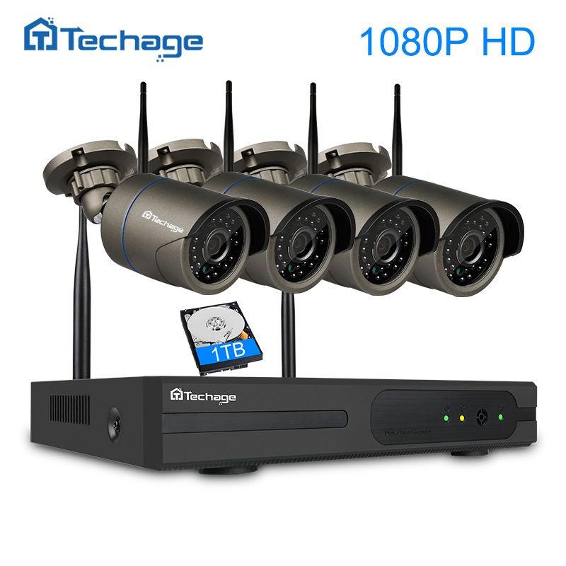 Techage 4CH 1080P Wireless NVR Kit 4PCS 2MP Outdoor Waterproof Security Wifi Camera IR Night Vision WIFI CCTV System Email Alert