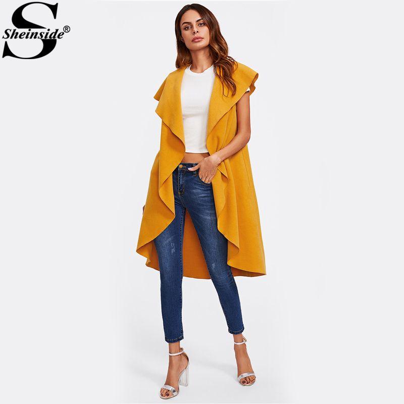 Sheinside Oversized Shawl Collar Women Vest Yellow Cap Sleeve Womens Long Vests Ladies 2017 Womens Autumn Casual Vest