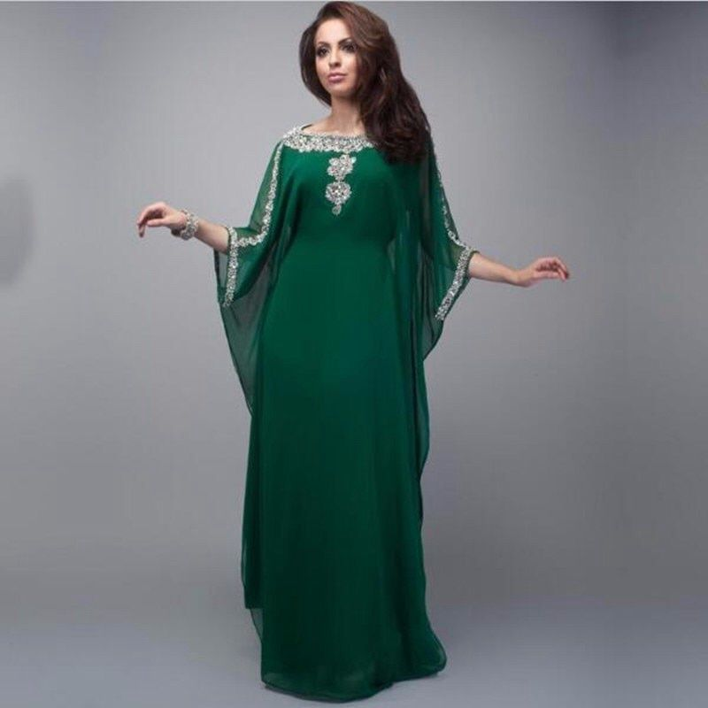 Saudi Arabia green lace decal nail beads A pendulum sleeves mom dress long dresses support color and size customization