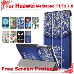 Untuk huawei LTE t2 7.0 kasus Mode Pu Kulit Berdiri Kasus Penutup untuk Huawei MediaPad T1 7.0 T1-701u BGO-DL09 + gratis 2 Layar Film