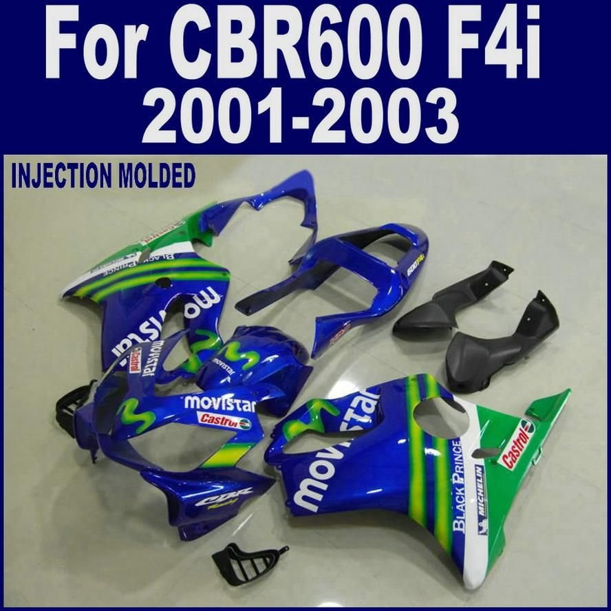 Injection molding for HONDA CBR 600 F4i blue 01 02 03 CBR600 F4i 2001 2002 2003 custom fairing LHFD