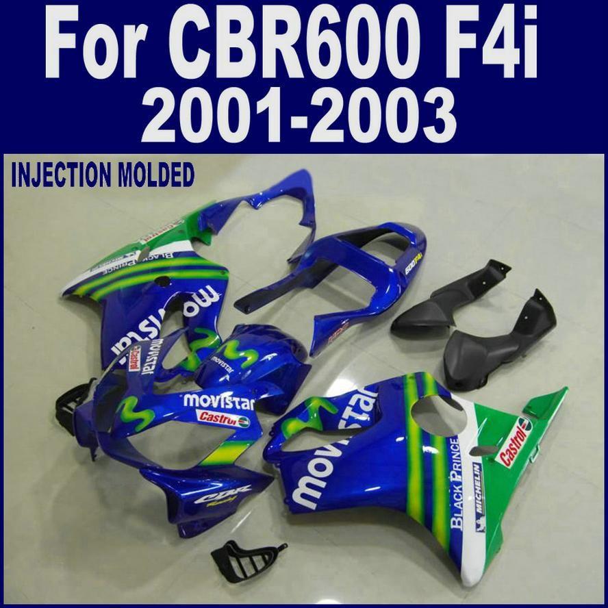 Injection molding for HONDA CBR 600 F4i blue 01 02 03 CBR600 F4i 2001 2002 2003 custom fairing LHFD