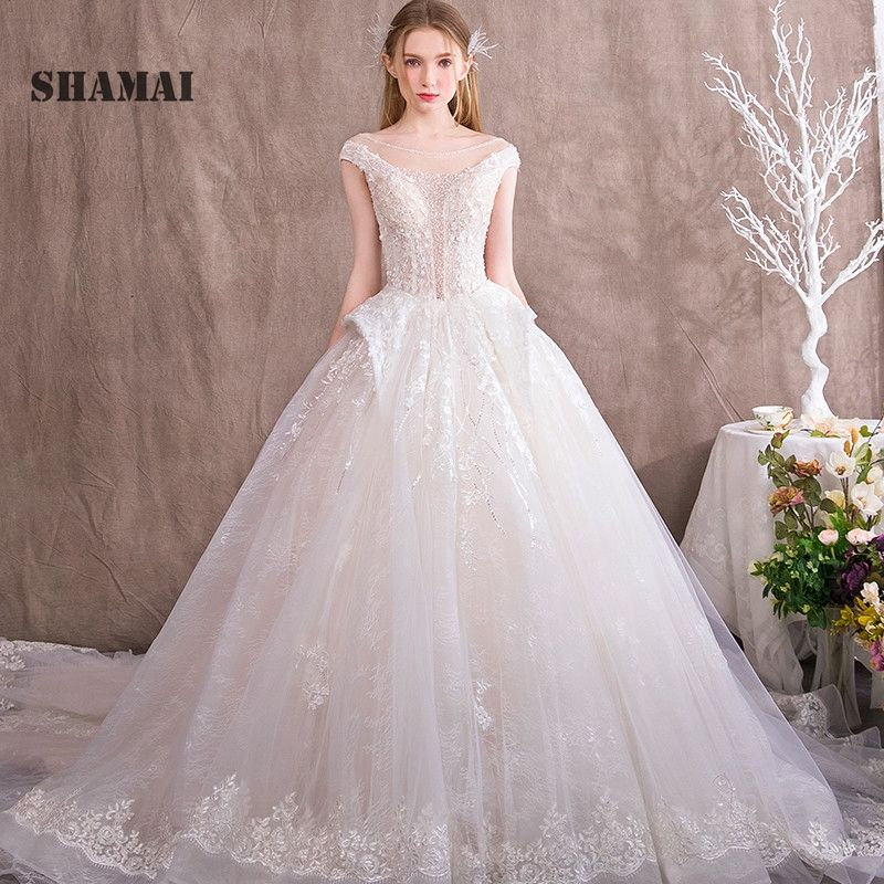 SHAMAI Boho Wedding Dress Robe De Mariee 2018 Sexy Wedding Gowns Luxury Bride Dress Elegant Vestido De Noiva Cap Sleeves
