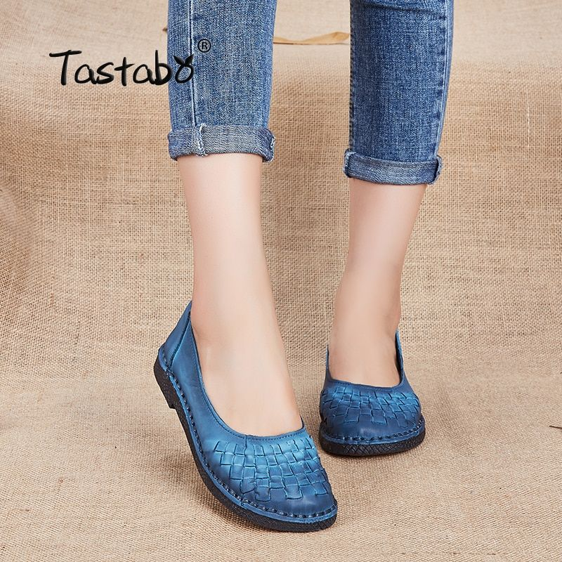 Tastabo Genuine Leather Shoes Fashion Loafers Women Shoes Handmade Soft Comfortable Flat Weave Solid Casual Shoes Women Flats