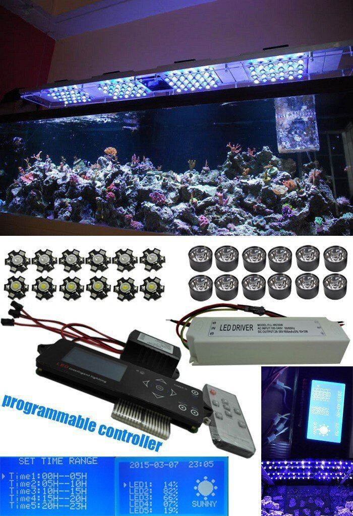Wireless Dimmable Led Grow Light 150w White Blue Chip Led Full Spectrum Programmable Led Aquarium Light for Coral with timmer