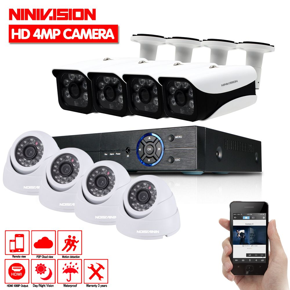 New Super Full HD 8CH AHD 4MP Home Outdoor indoor CCTV Camera System 8 Channel 6 Array Surveillance security camera kit with dvr