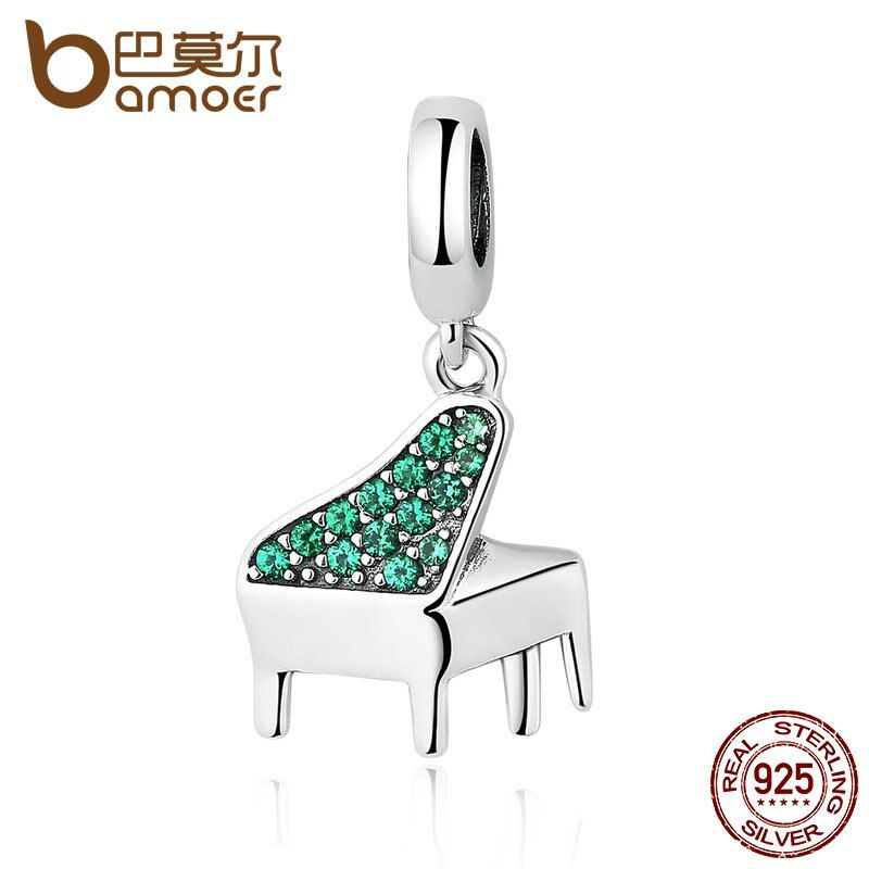 BAMOER Real 925 Sterling Silver Green Clearly CZ, Music Piano Pendant Charms fit Bracelets Women Fashion Jewelry SCC111