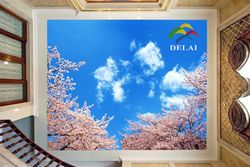 T-1619 Blue sky with tree brabches printing ceiling film white clouds with leaves construction material for ceiling ornament