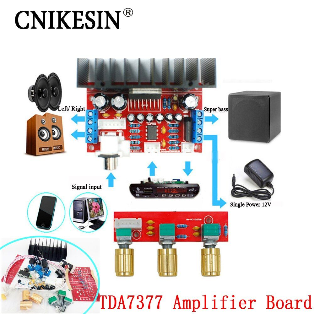 CNIKESIN TDA7377 amplifier board, diy Single Power Computer Super bass, 3 Channel Sound and 2.1 power amplifier board diy Sutie