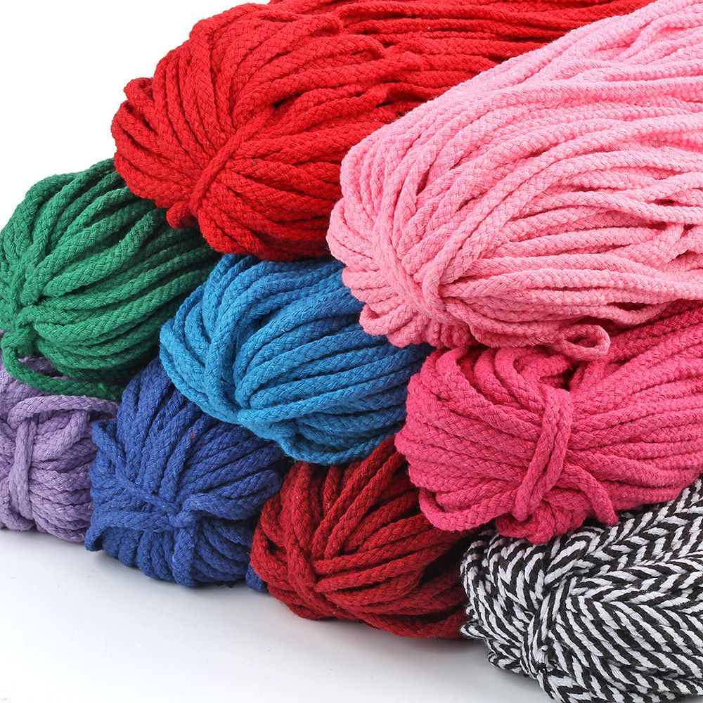 5mm * 100 yarda de cordón de algodón naturel Beige trenzado cuerda de macramé bricolage trenzado decorativo matériel