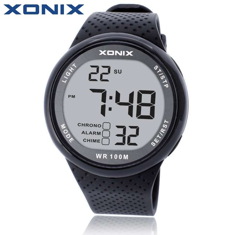 XONIX Fashion Men Sports Watches Waterproof 100m Outdoor Fun Digital Watch Swimming Diving Wristwatch Reloj Hombre Montre Homme