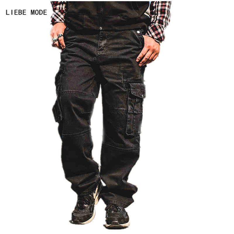 Japan Style Plus Size Mens Denim Cargo Pants Jeans Men Baggy Loose Black Jeans With Side Pockets Size 38 40 42 44 46